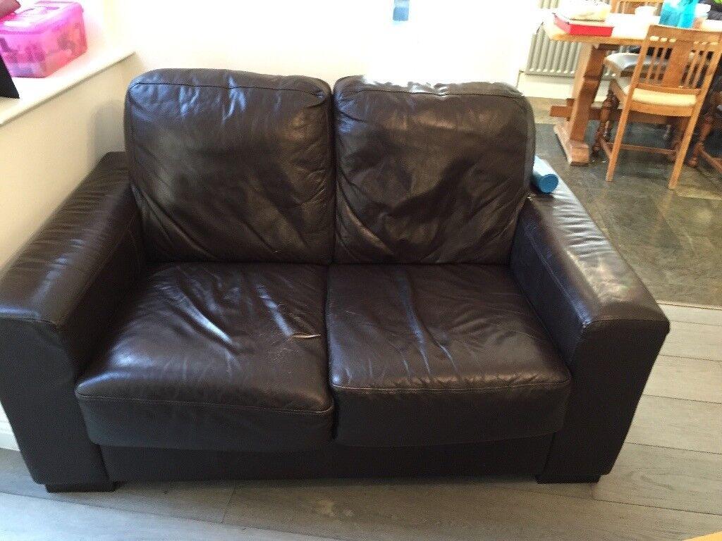 Comfortable Brown Leather Sofa