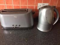 Silver kettle and toaster