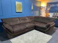 Brown fabric corner sofa chaise l-shaped