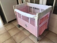 Hauck dropside birdie pink mini travel cot with mattress from birth