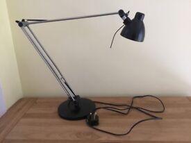 IKEA Desk Light fully adjustable in black and steel effect