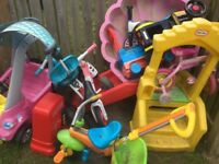 Bundle of kids outdoor toys little tikes slide car petrol pump balance bikes and more