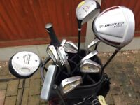 Full set of Acuaty golf clubs with bag, Electric trolley, Umbrellas + 12 brand new Titleist pro v1