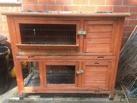 Double rabbit guinea pig hutch