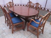 Yew wood D end dining table