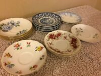 17 mis-match vintage saucers for afternoon tea