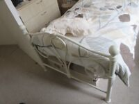 Single bed Metal Ornate in off White