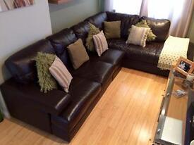 Harvey's 6 seater brown leather corner settee
