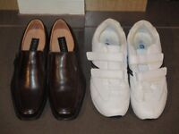 Mens Shoes - *NEW* Brown Formal Shoes and White Casual Trainers Size 8 & 9