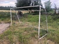 x2 Metal/steel football goal post posts nets 12ft x 6ft