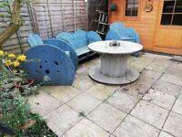 Cable drum rustic garden furniture