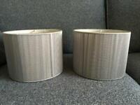 Two grey string lampshades
