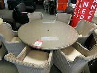 Rattan Table and 6 Chairs (B)