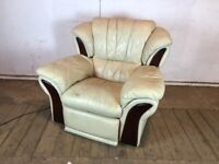 White Leather Electric Reclining Arm Chair with Wooden Detail