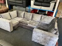 NEW - EX DISPLAY SOFOLOGY GREY VELVET CHENILLE MARYLAN U SHAPE CORNER SOFA SOFAS 70% Off RRP SOFA