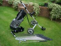 full set of matching Ram Demonplus golf clubs inc bag and trolley as new