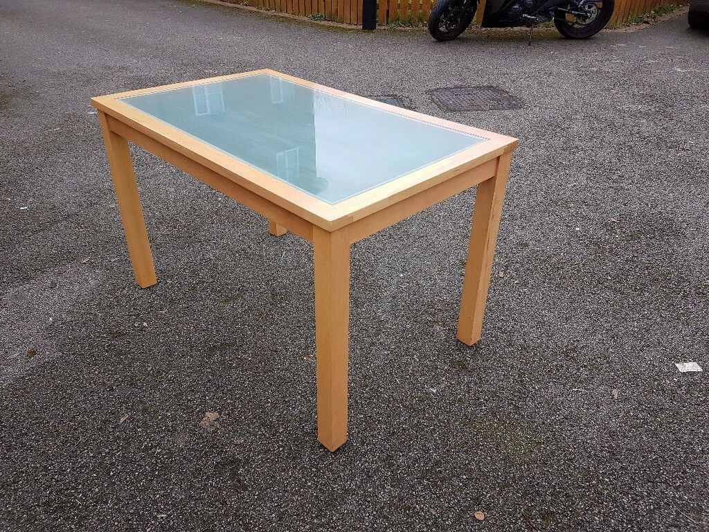 Frosted Glass & Solid Wood Dining Table 120cm FREE DELIVERY 013