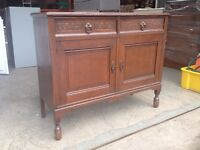 ANTIQUE SOLID OAK SIDEBOARD \ CUPBOARD WITH DRAWERS