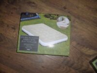 double Flocked Airbed With built in Pillow And Double Lock Valve - Grey bnib