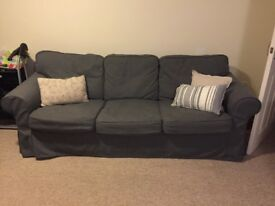 Ikea ektorp 3 seater sofa with dark grey covers