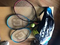 Set of 3 tennis rackets + 4 balls + Cover