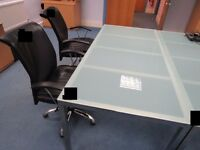 Glass topped Table, 1800mm x 850mm