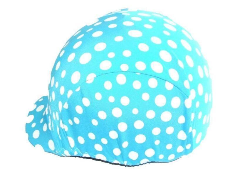 Ecotak lycra helmet cover - Aqua with white spots Ecotak