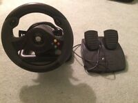 xbox 360 steering wheel with pedals