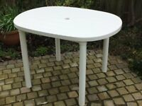 Garden/Patio Table, white plastic, sturdy, good condition. Boxed