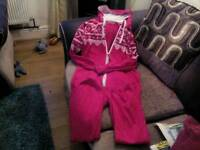 Woman's pink and white onesie - size 12