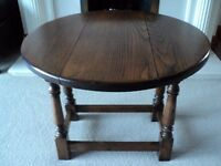 ANTIQUE/VINTAGE/RETRO (TWIST) DROP LEAF SOLID OAK OCCASIONAL TABLE 1950s
