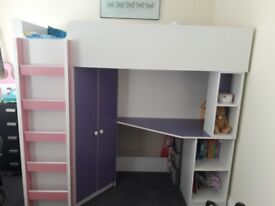 2 x Child bed with built in wardrobe and desk