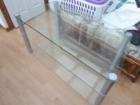 Retro tinted glass 2 shelf TV / games console stand