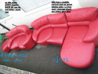 used red 3seat +2 seat + stool sofas in leather used in vgc