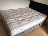 Kingsize storage ottoman base, mattress and headboard