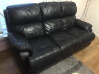Genuine 3 Seater Black Leather Sofa *EXCELLENT CONDITION*