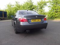 grey BMW 525D m-kit with black rims and long mot and recently serviced