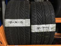 185 30 14 PART WORN TYRES ** FREE FITTING AND BALANCING**