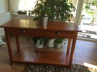 MARKS &SPENCER WOODEN HALL TABLE WITH 2 DRAWERS & BOTTOM SHELVING