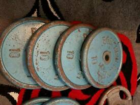 4 x 10kg cast iron weights plates