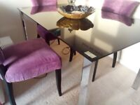 Black Glass Dining Table 4 - 6 seater Does Not Include Chairs