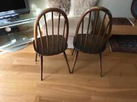 2 Ercol chairs dark wood