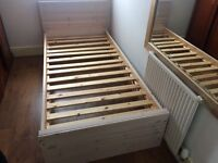 Single wooden bed frame with 3 drawers