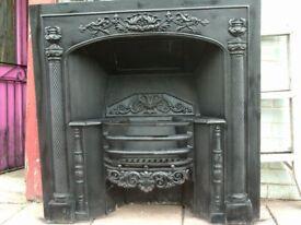 Large Cast Iron Inglenook Fireplace. Refurbished.