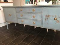 Blue shabby chic rustic side table