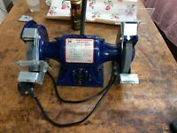 6 inch Faithfull bench grinder, lightly used, with work light.