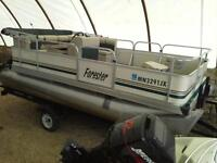 17' Forester pontoon, 40hp Merc oil injected, & trailer
