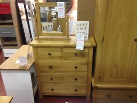 New Tyrone Oak Bedroom Clearance 2 over 3 drawer tall chest £295