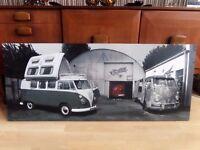Vintage Vw Campervans Stretched Canvas Framed