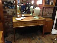 VINTAGE RETRO MID CENTURY 50s 60s SATIN WALNUT MIRRORED DRESSING TABLE DESK VESPER GIMSON & SLATER